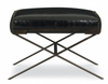 Black Leather Metal Base Ottoman