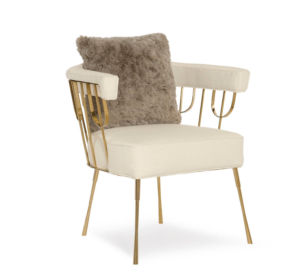 Gold and Creamy White Accent Chair-Accent Chair-yZiGN Interior Design