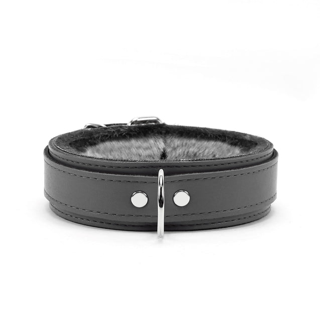 Berlin Small Leather Bondage Collar Gray Front