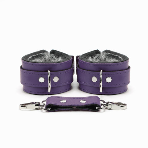 Berlin Leather Faux Fur-Lined Bondage Cuffs 2-Inch