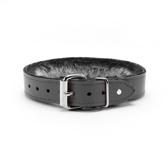 Luxury BDSM Collar Gray Leather Back