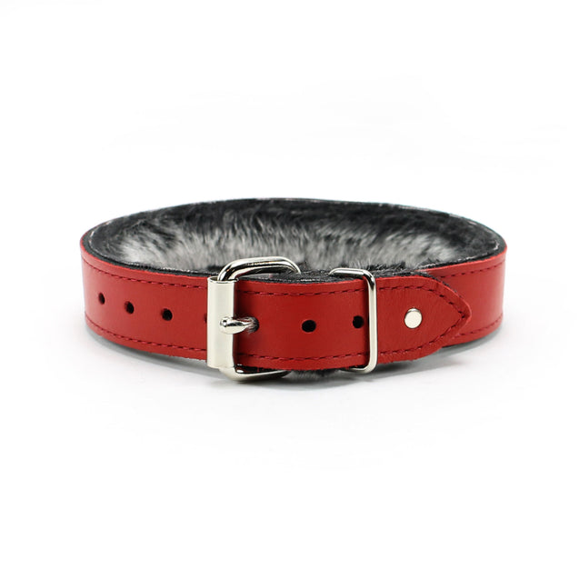 Luxury BDSM Collar Red Leather Back