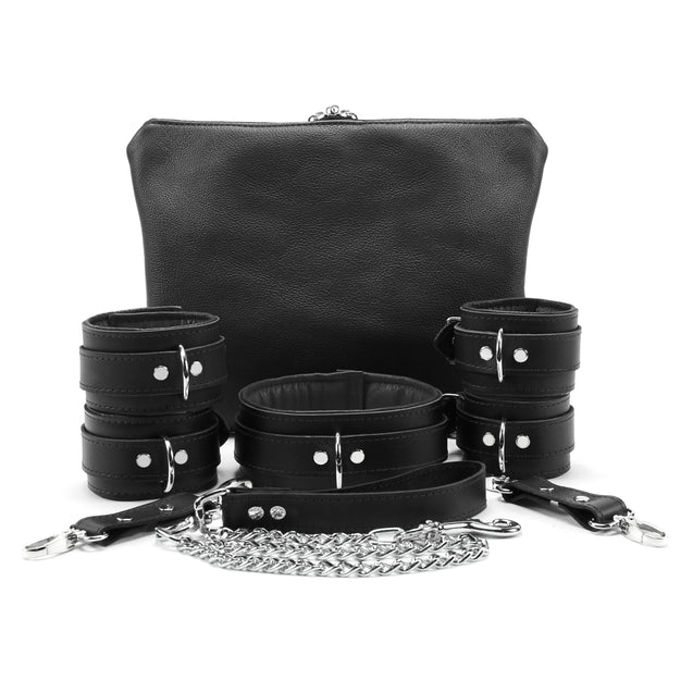 Mandrake 7-piece lambskin leather padded bondage set black