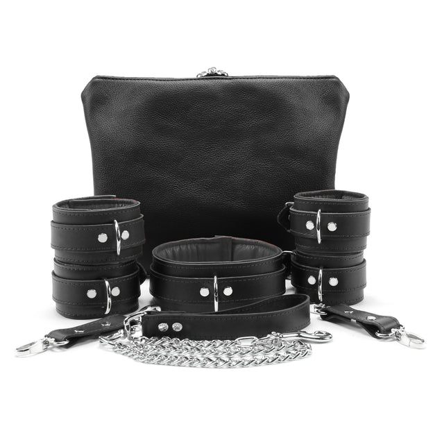 Mandrake 7-piece lambskin leather padded bondage set grey