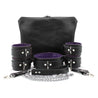 Mandrake 7-piece lambskin leather padded bondage set purple