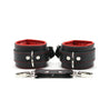 Luxury lambskin leather padded BDSM cuffs red