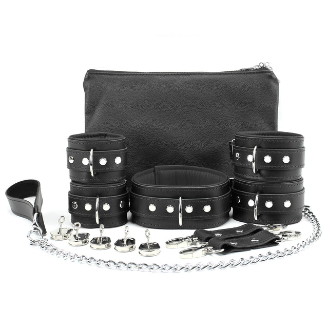 Mandrake 7-piece lambskin leather padded bondage set black lockable