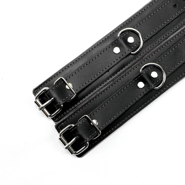 Luxury lambskin leather padded BDSM cuffs grey details