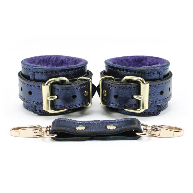 Special edition blue sapphire metallic leather bondage cuffs with cuff connector