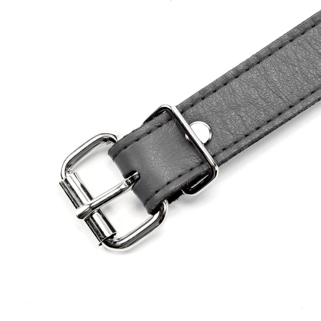 Berlin Grey Leather Ball Gag Buckle Detail