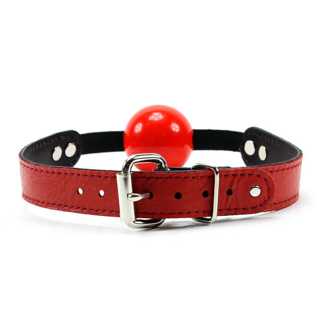 Berlin Leather BDSM Ball Gag Red Leather Red Silicone Ball