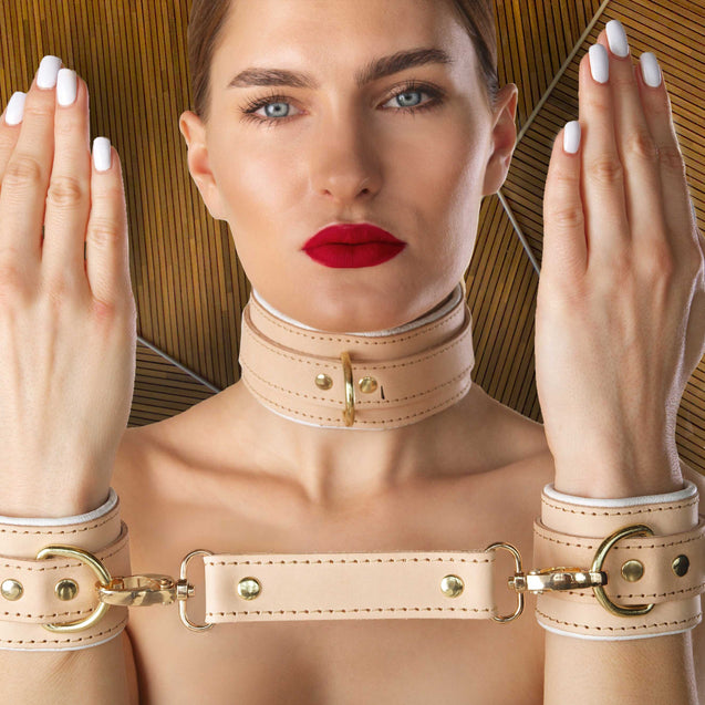 Galen Luxury Leather Medical Play Cuffs and Collar on Model