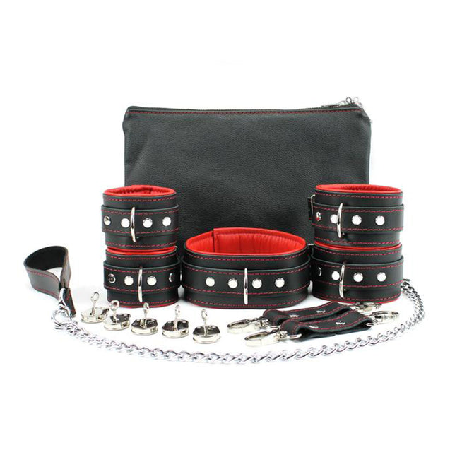 Mandrake 7-piece lambskin leather padded bondage set red lockable