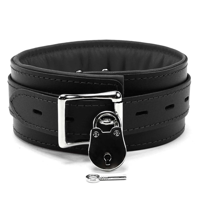 Luxury lambskin leather padded slave collar black lockable
