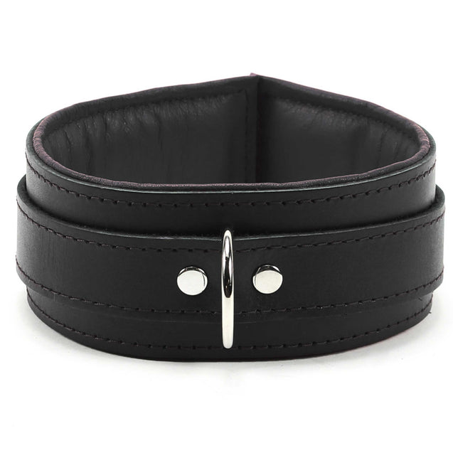 Luxury lambskin leather padded slave collar black front