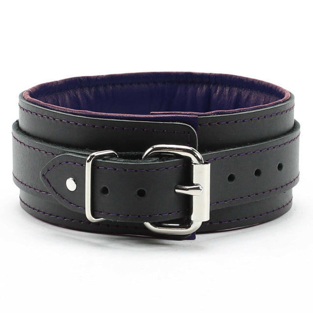 Luxury lambskin leather padded slave collar purple back
