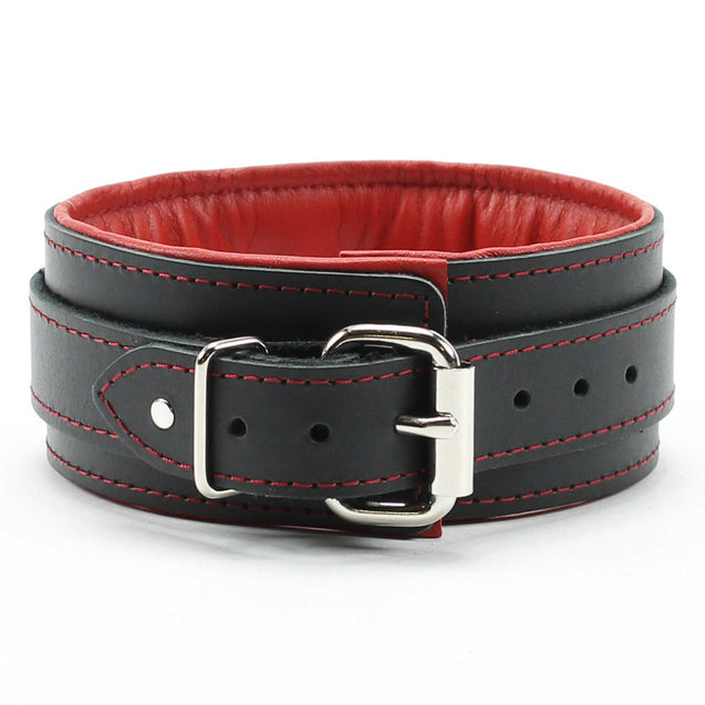 Luxury lambskin leather padded slave collar red back