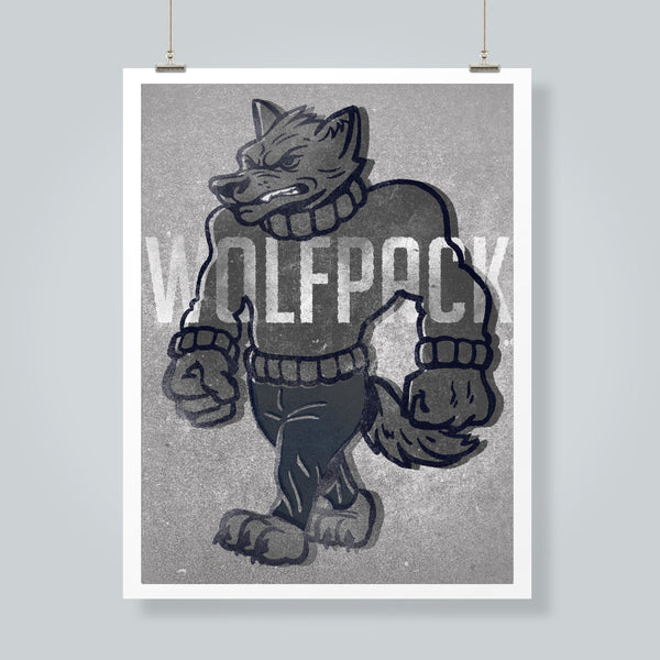 Wolfpack Silver Art Print