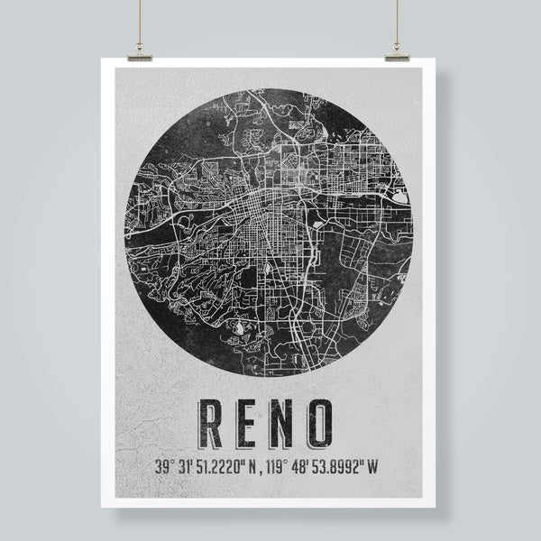 """Reno Map"" Art Print"