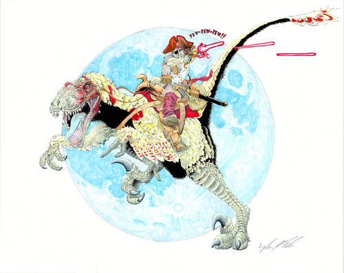 Historically Accurate Image of a Pirate Riding a Dinosaur Whilst Firing a Laser Device -Original
