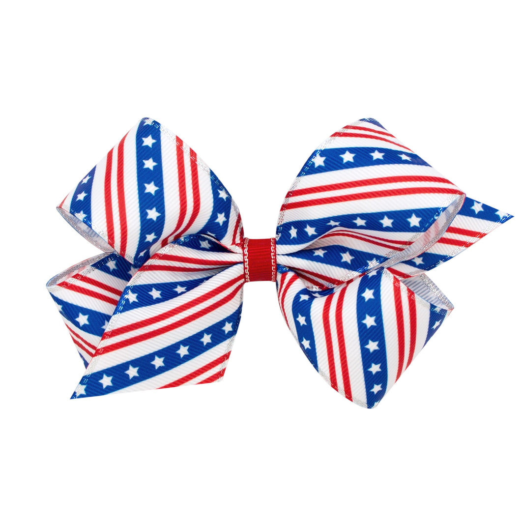 Wee Ones Bow White Stars and Stripes
