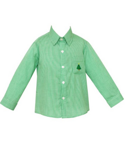Anavini Boy Green Button Down Shirt with Christmas Tree  Embroidery