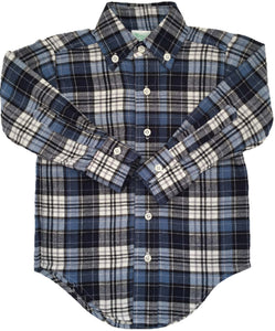CCP Flannel Button Down Oxford Bruno Navy Plaid