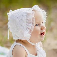 Load image into Gallery viewer, Huggalugs White Heart Eyelet Bonnet