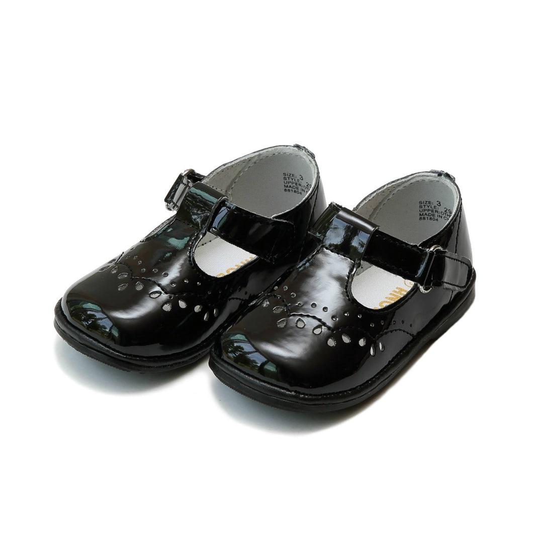 L'Amour Birdie Black Patent T-Strap (Baby)