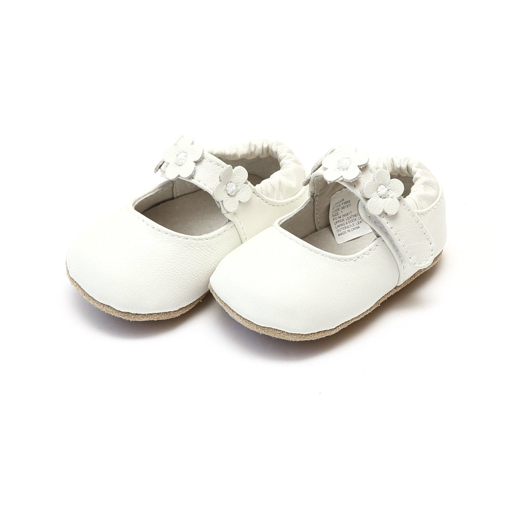 L'Amour Hope White Leather Flower Crib Shoe