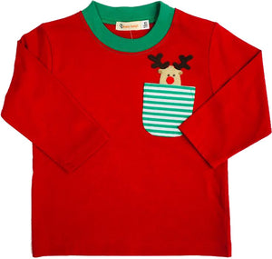 Luigi Reindeer in a Pocket Red Long Sleeve Shirt