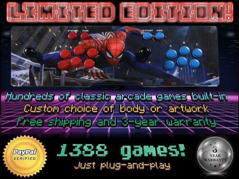 Limited Edition! 'Spider-Man' artwork 1388-game 2-player Arcade Retro Console