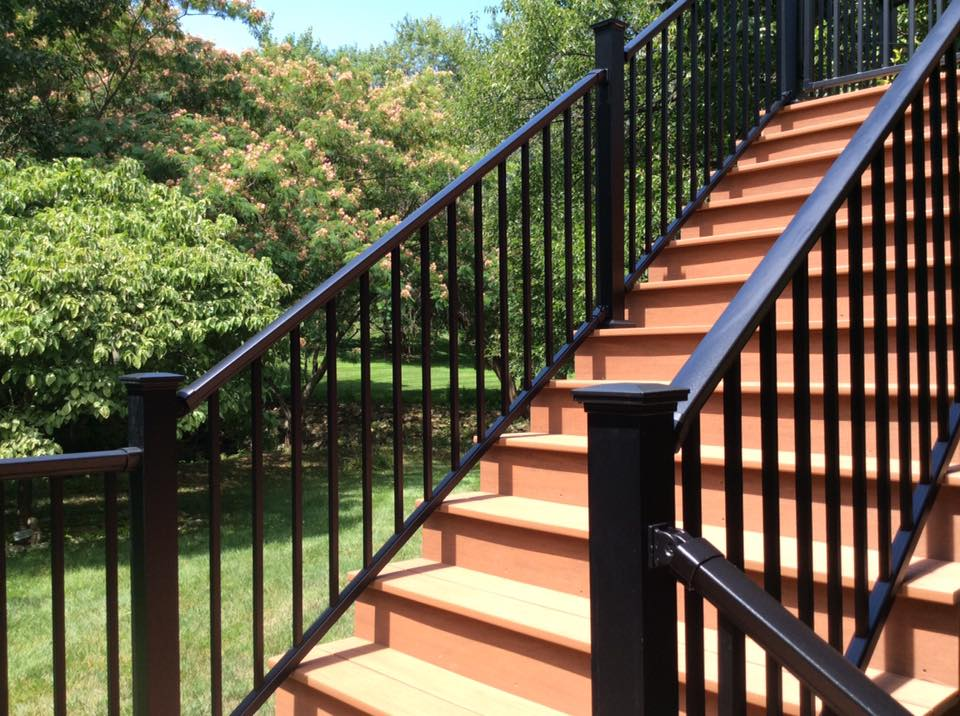 "DekPro Prestige Aluminum Stair Railing, Aluminum Stair Railing, PVC Stairs, Aluminum and PVC Stairs, 3"" post,  Fortress Accents Post Caps, Absolute Black DekPro Aluminum Railing, Azek Vintage Cypress Decking,"