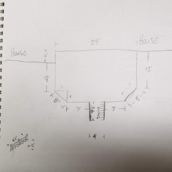 2D deck drawing for estimating railing, draw sketch of deck and lable dimensions or measurements to plot posts and rail sections or kits