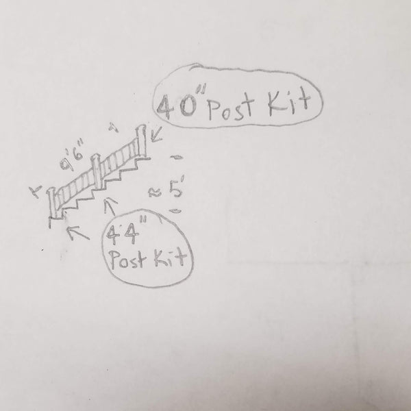 """Stair Drawing from the side showing where 40"""" posts a placed and where 44"""" posts go"""
