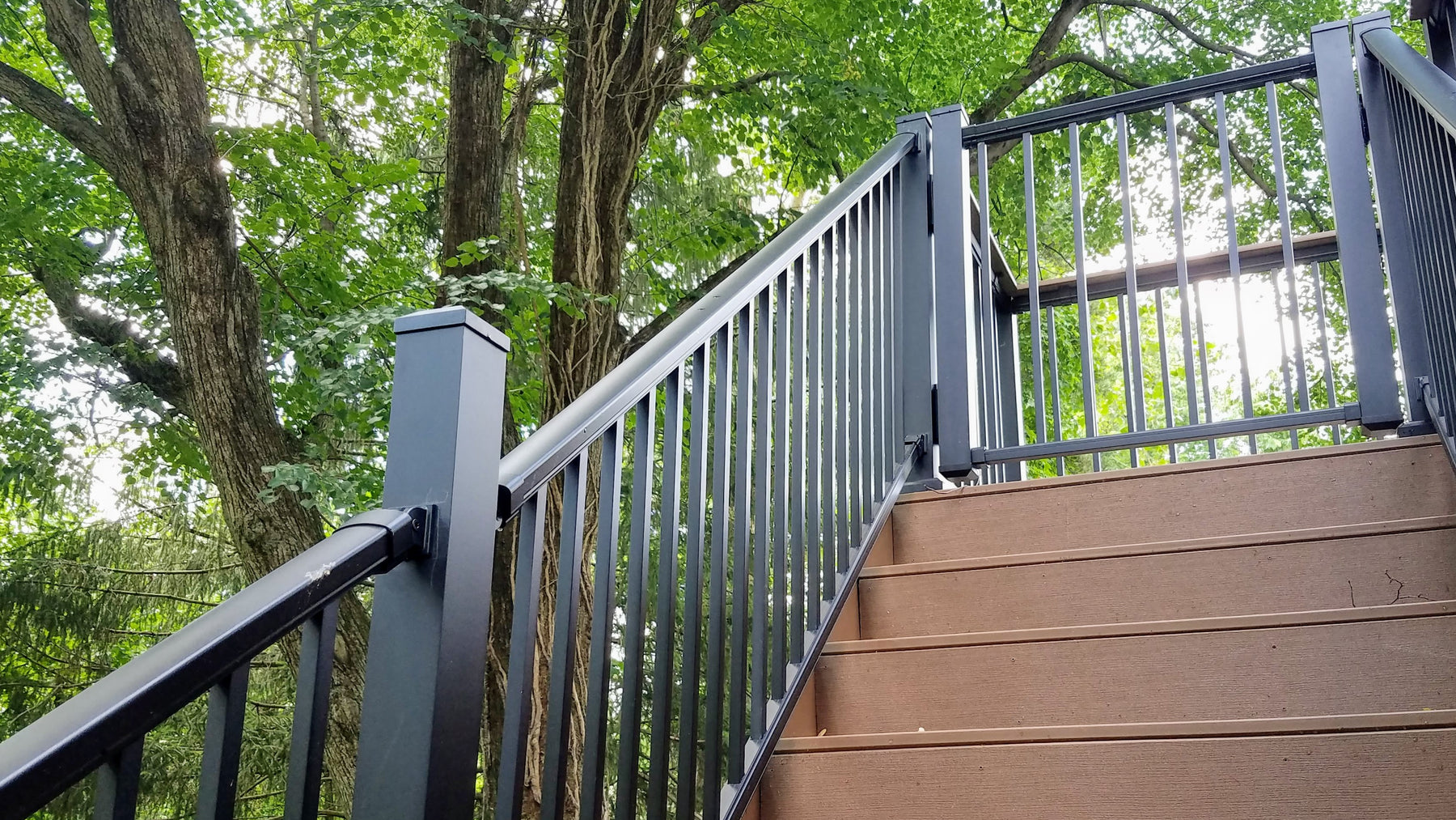 DekPro Prestige Stair Railing and Gate. Absolute Black Deck handrail or Railing, see link for more