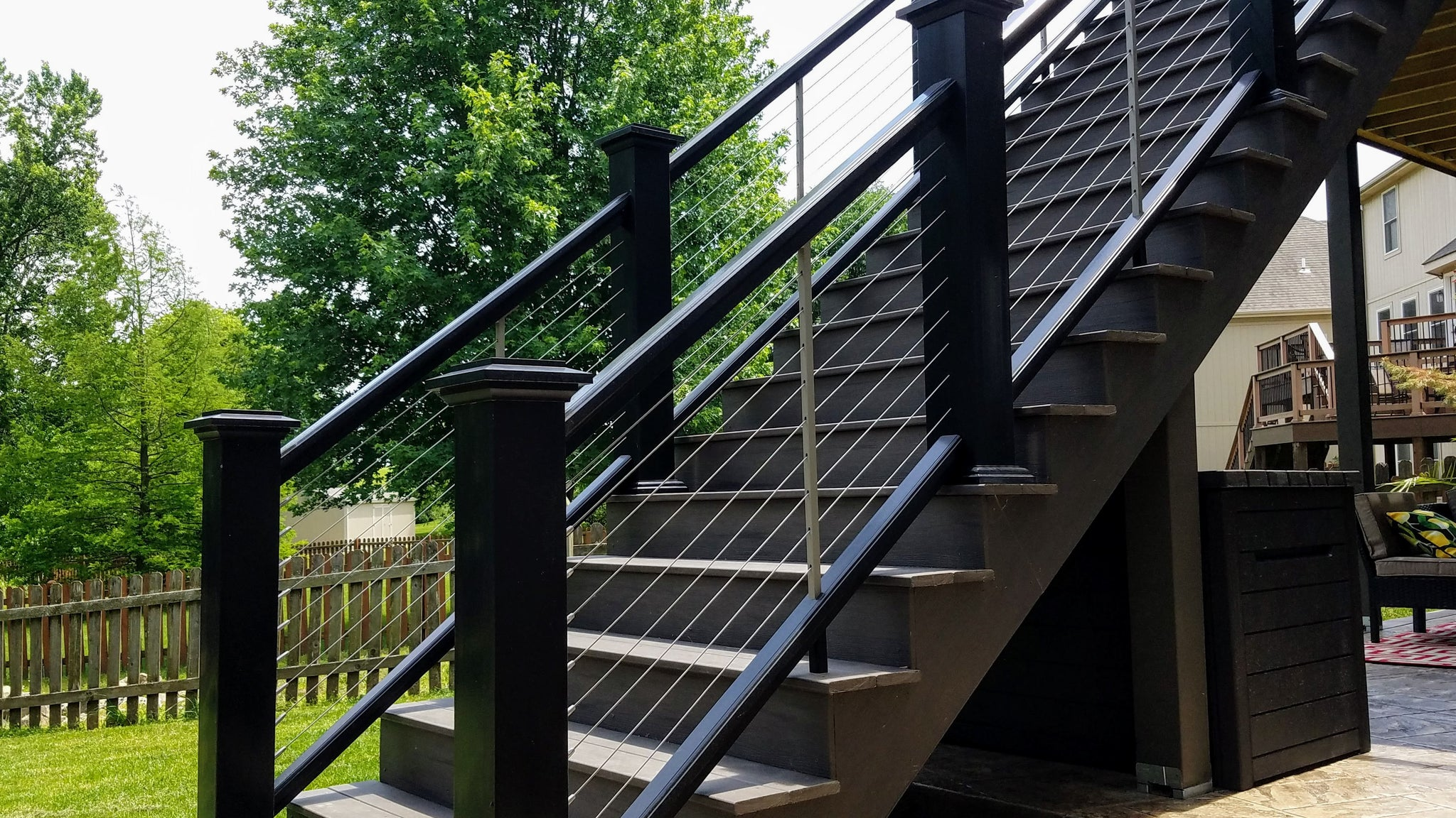 Composite Stairs with Cable on an angle using Azek Rail and TimberTech Decking with Feeney Cable
