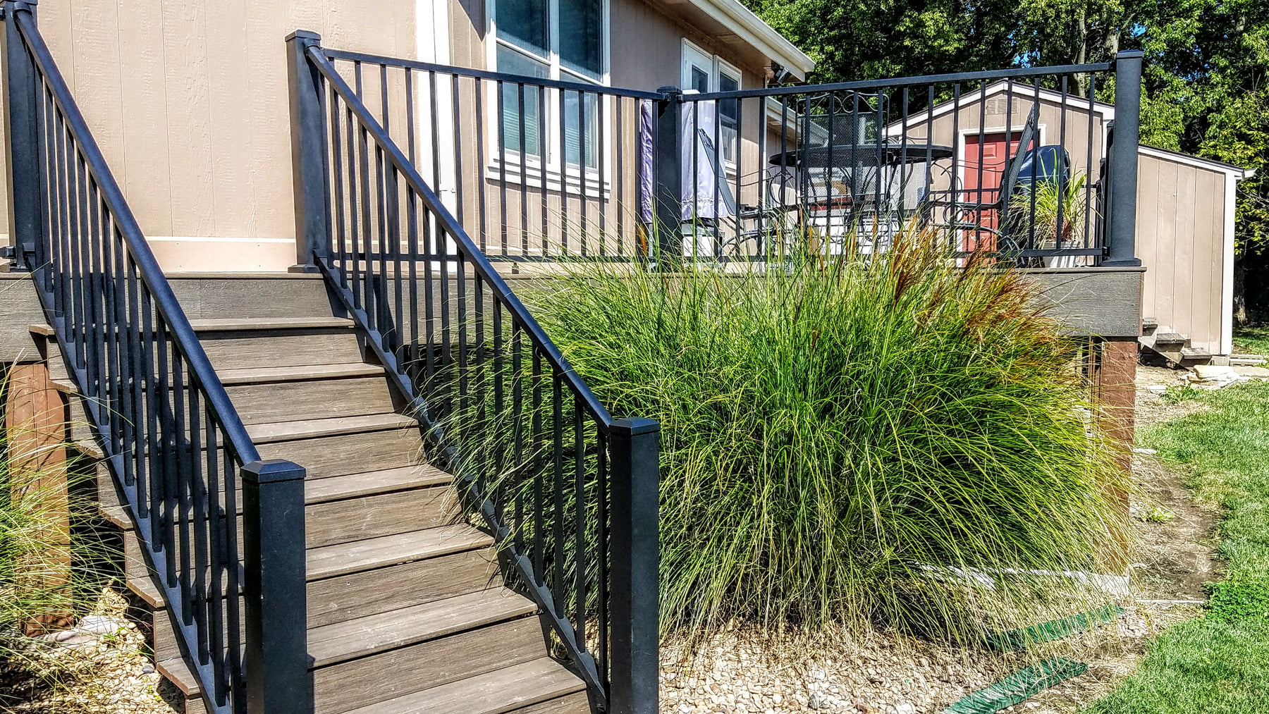 Westbury c10 Tuscany Standard Railing Textured Black Fine Texture with 4 in. posts and tuscany c10 railing kits