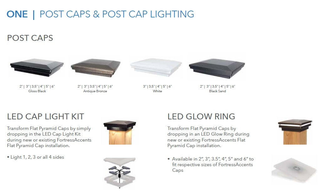 Fortress Accents Post Caps, Where can I find accents post cap, cap light kits, post cap lighting, lit post cap, lighted post cap