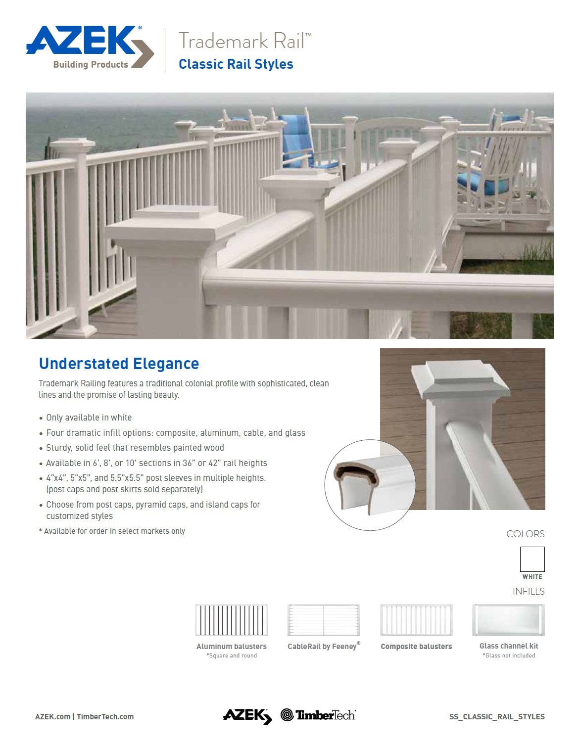 Azek Trademark Composite Railing System. Learn More Here