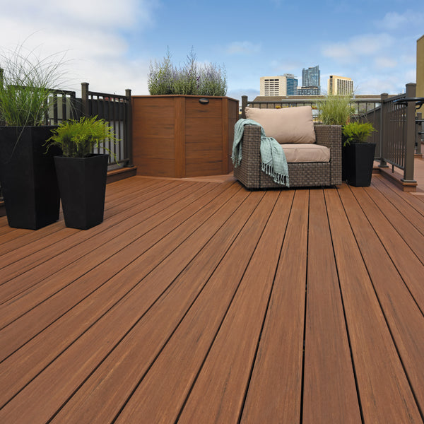 Azek Mahogany Vintage Decking Collection, PVC Deck in Mahogany with Impressions Rail