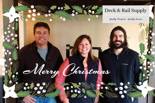 Deck and Rail Supply Staff Holiday Photo Merry Christmas from Deck & Rail Supply