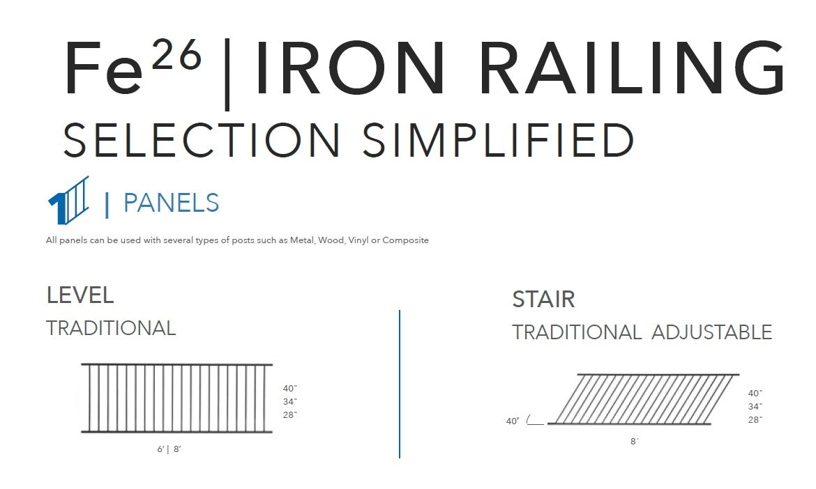 Fe26 Fortress Iron Railing Railing Simplified Selection Level 6' or 8' Stair 8' Residential