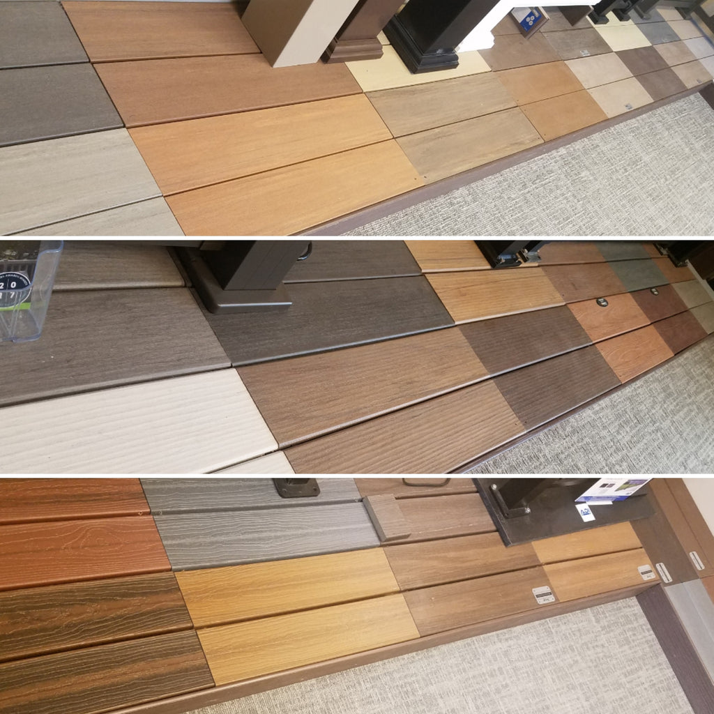 Decking displayed in our showroom in Gardner Kansas, Pro Deck and Patio Decking from Azek, TimberTech, and Envision