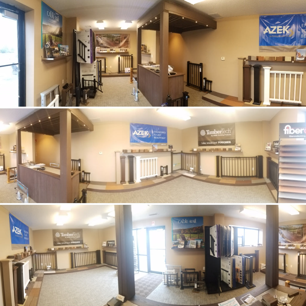 ShowRoom wide shots, See our whole showroom in one picture, Pro Deck and Patio, a Deck and Rail supply company in Gardner KS