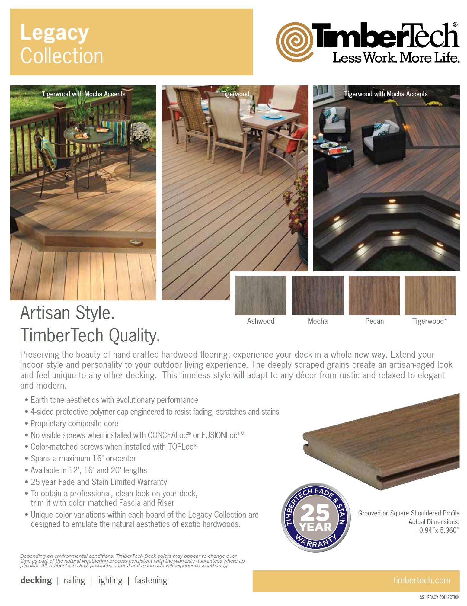 Timbertech legacy capped composite decking pro deck for Capped composite decking prices