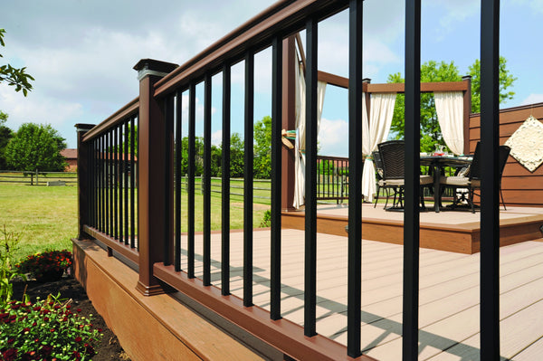 Radiance Rail Kona with Aluminum black balusters, composite timbertech railing