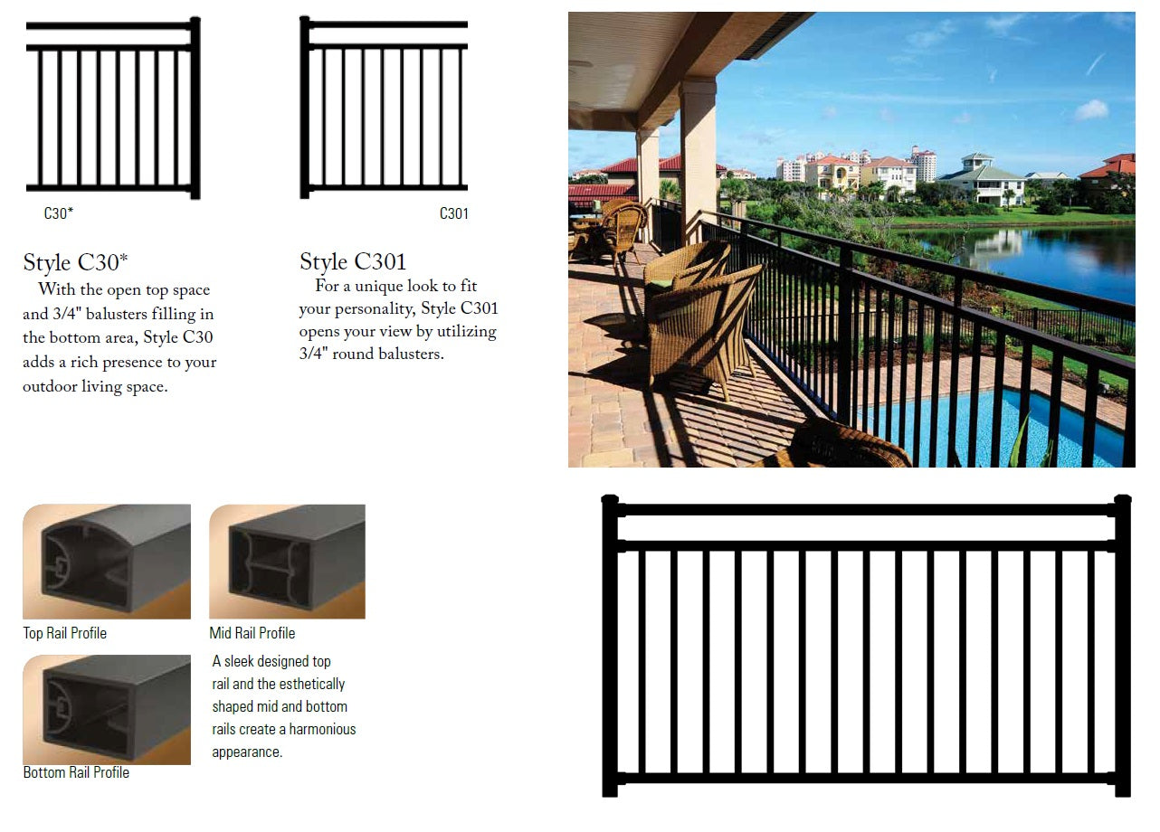 Westbury Riviera C30 CAluminum Designer Railing, Deck railing high end, fancy deck railing, fancy fencing, top rated handrail