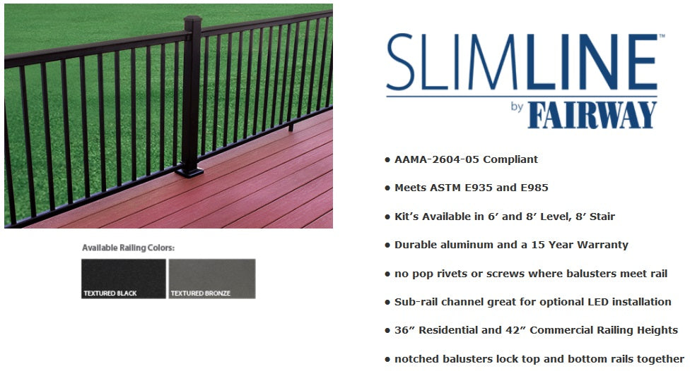 Slimeline Railing by Fairway Building Products, Aluminum Railing System, Deck Railing