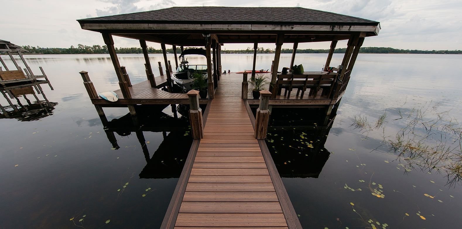 Dock Walk Way Leading to Decked Gazebo all decking is Envision Capped Composite
